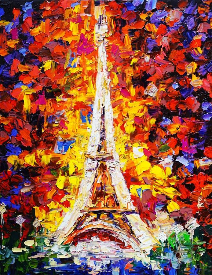 Olieverfschilderij - Toren Eiffel, Parijs vector illustratie