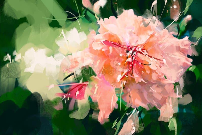Olieverfschilderij van het de stijlportret van de illustraties het oranje hibiscus roze - Voorraadbeeld royalty-vrije illustratie