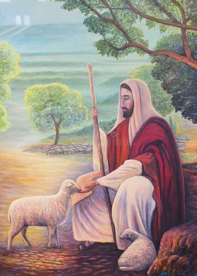 Olieverfschilderij van Jesus als goede herder stock afbeelding
