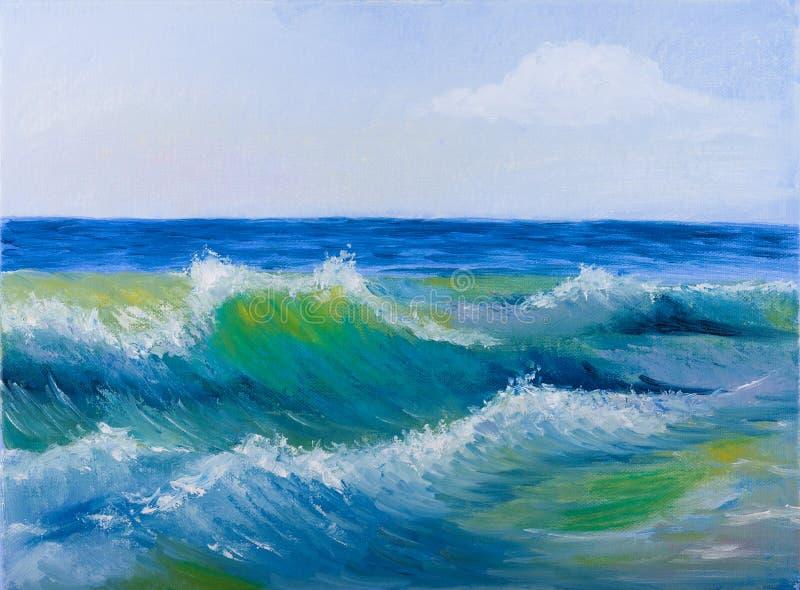 Olieverfschilderij van overzeese golven stock afbeeldingen