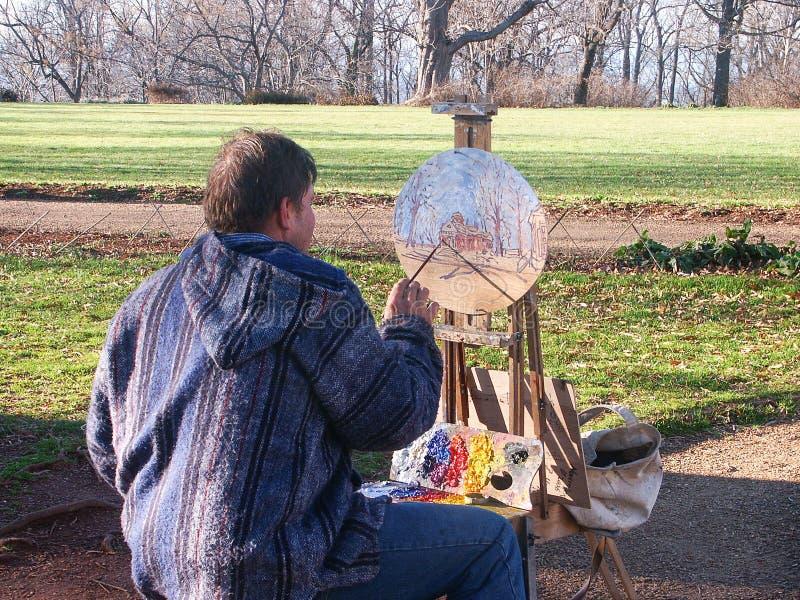 Olieverfschilderij van Thomas Jeffersonâ €™s Monticello royalty-vrije stock afbeeldingen