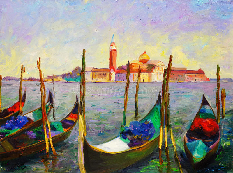 Olieverfschilderij - Venetië, Italië royalty-vrije illustratie