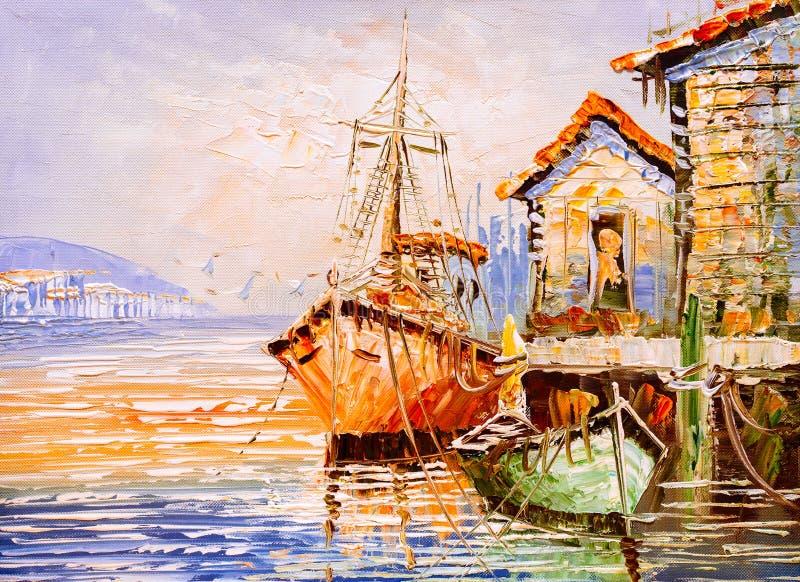 Olieverfschilderij - Venetië, Italië vector illustratie