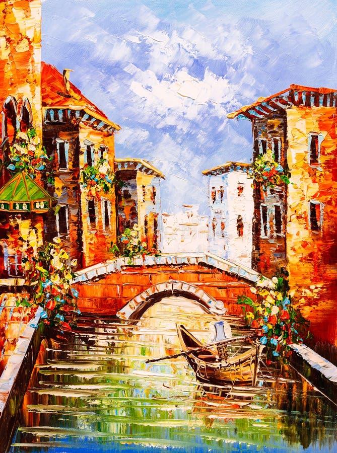 Olieverfschilderij - Venetië, Italië stock afbeelding