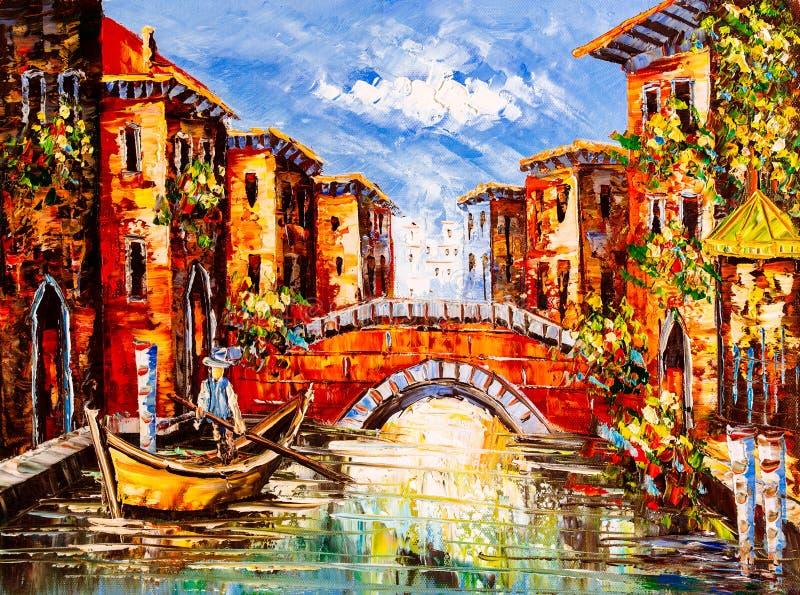 Olieverfschilderij - Venetië, Italië stock foto