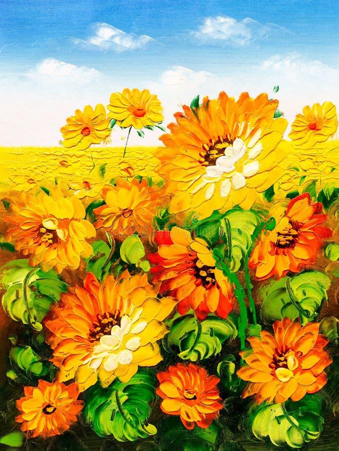 Olieverfschilderij - Zonnebloem royalty-vrije illustratie
