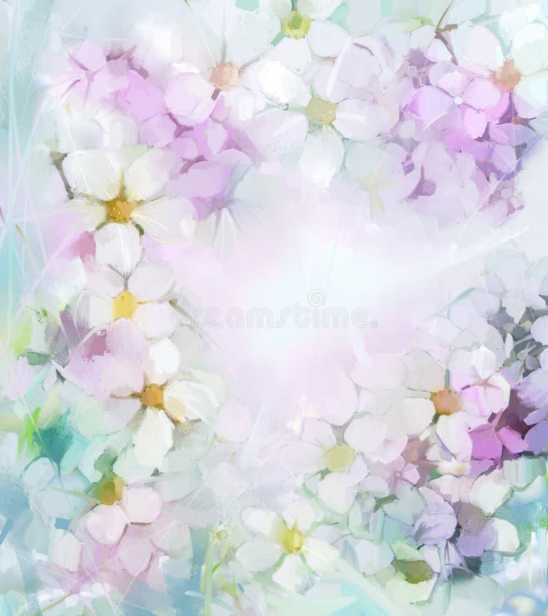 Olieverfschilderijbloemen in zachte kleur en onduidelijk beeldstijl voor achtergrond stock illustratie