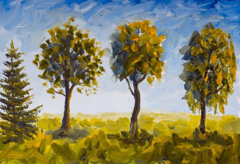 Olieverfschilderijbomen in groen gras tegen blauwe hemel royalty-vrije illustratie