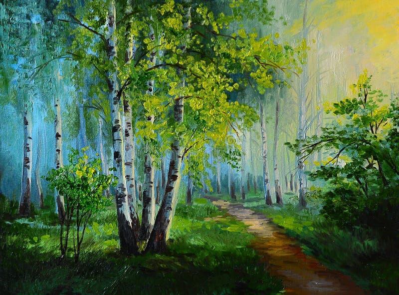 Olieverfschilderijlandschap - berk bos, abstracte tekening royalty-vrije illustratie