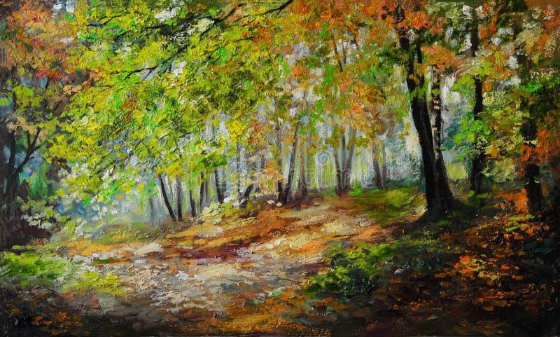 Olieverfschilderijlandschap - kleurrijk de herfstbos royalty-vrije illustratie