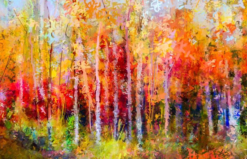 Olieverfschilderijlandschap - kleurrijke de herfstbomen royalty-vrije illustratie