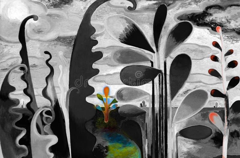 Olieverfschilderijlandschap van abstracte tuinmening stock illustratie