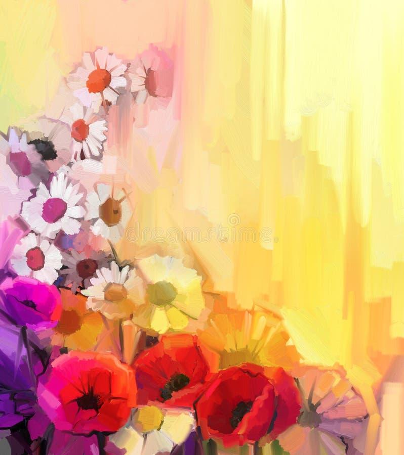Olieverfschilderijstilleven van witte, gele en rode kleurenbloemen royalty-vrije illustratie