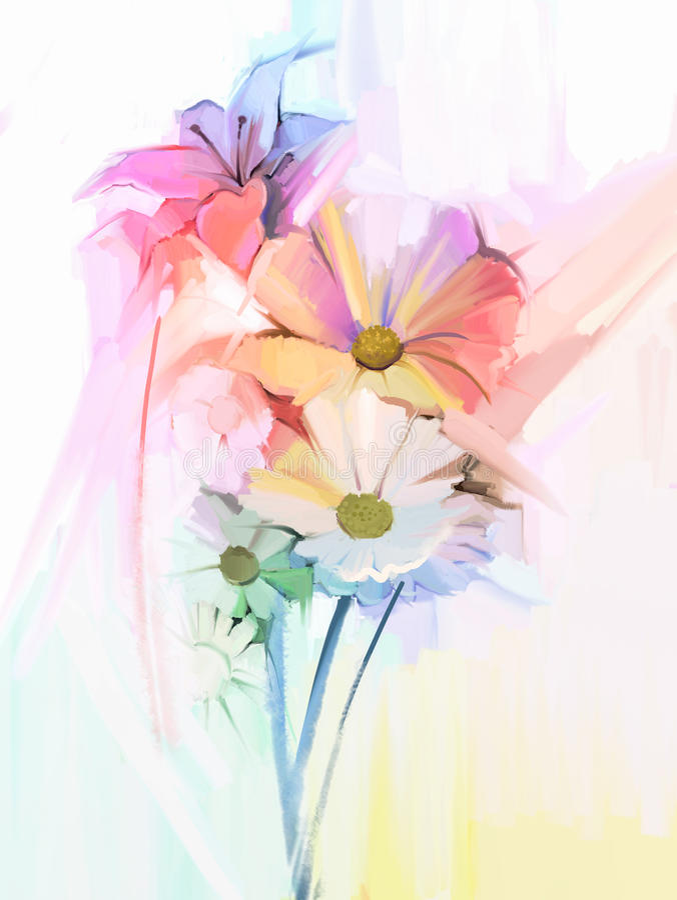 Olieverfschilderijstilleven van witte kleurenbloemen met zachte roze en purper stock illustratie