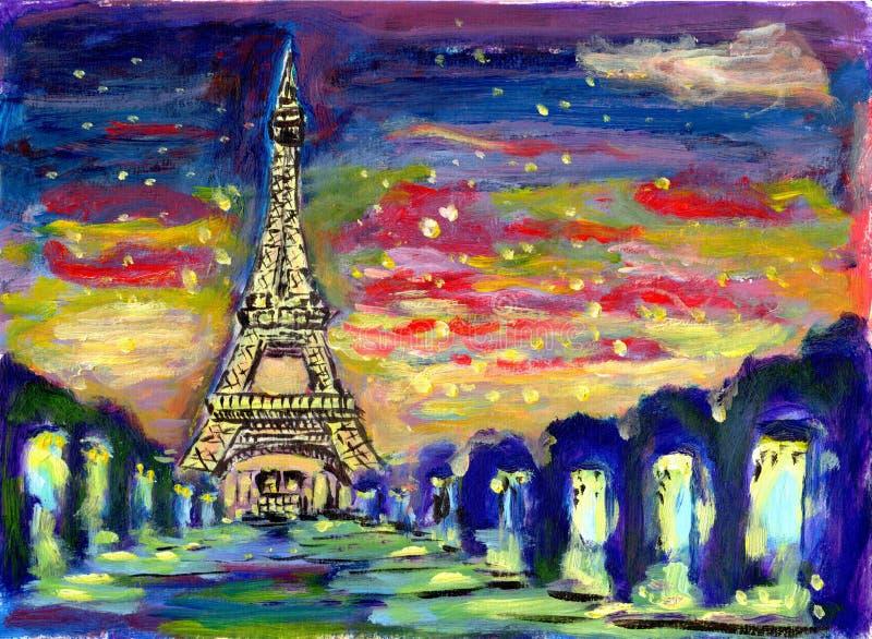 Olieverfschilderijzonsondergang Parijs vector illustratie