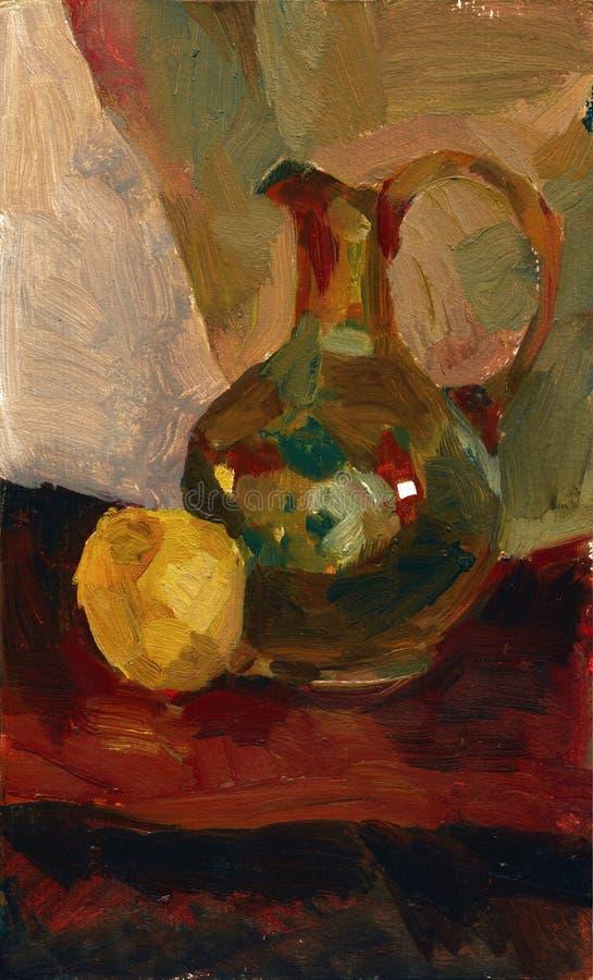 Olievervenwaterkruik en de illustratie van het appelstilleven stock illustratie