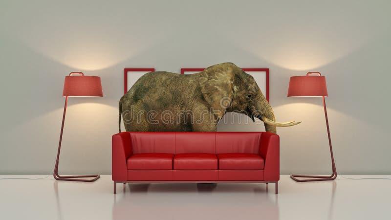 Olifant in de ruimte dichtbij muur Creatief concept stock illustratie