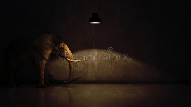 Olifant in de ruimte dichtbij muur Creatief concept royalty-vrije illustratie