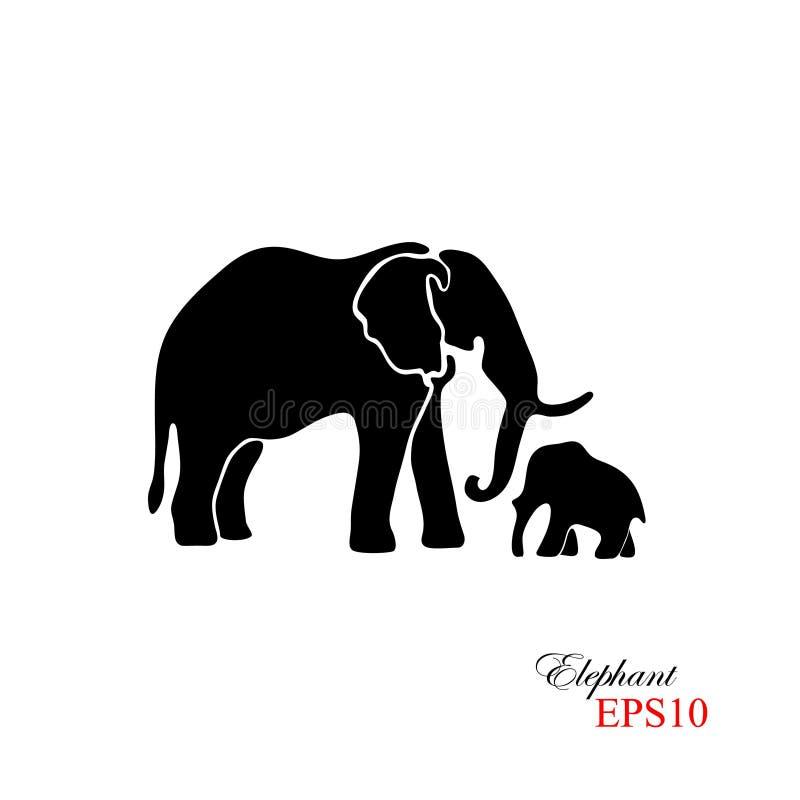 Olifant en de Olifant van de Baby Het zwarte silhouet van een olifant op een witte achtergrond Element voor ontwerp vector illustratie