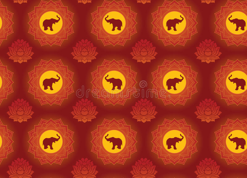 Olifant en lotusbloemachtergrond royalty-vrije illustratie