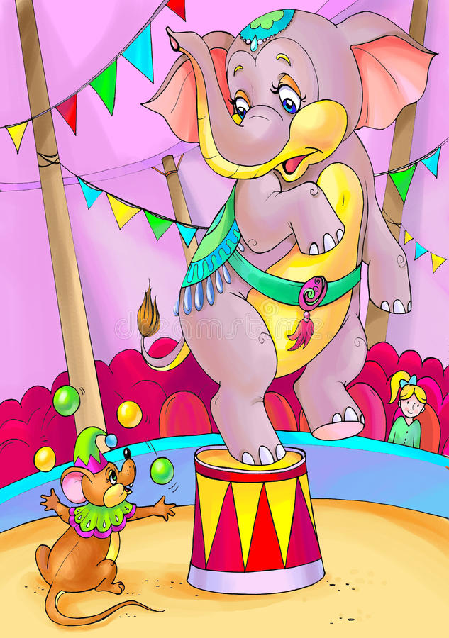 olifant en muis royalty-vrije illustratie