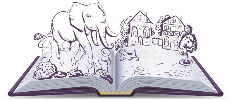Olifant en Pug verhaal Boek van de illustratie het open mythe vector illustratie