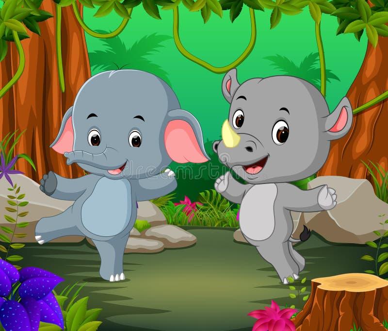 Olifant en rinoceros in het bos stock illustratie