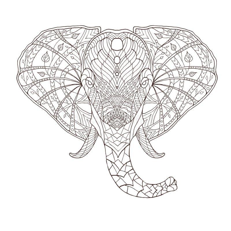 Olifant Etnische gevormde vectorillustratie royalty-vrije illustratie