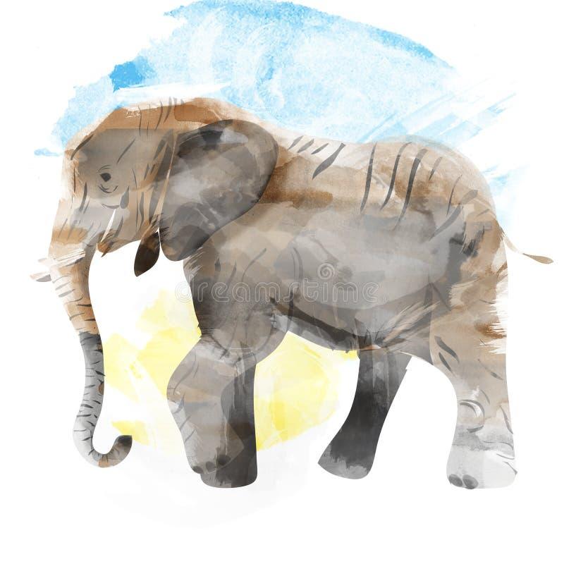Olifant geschilderde waterverfillustratie vector illustratie