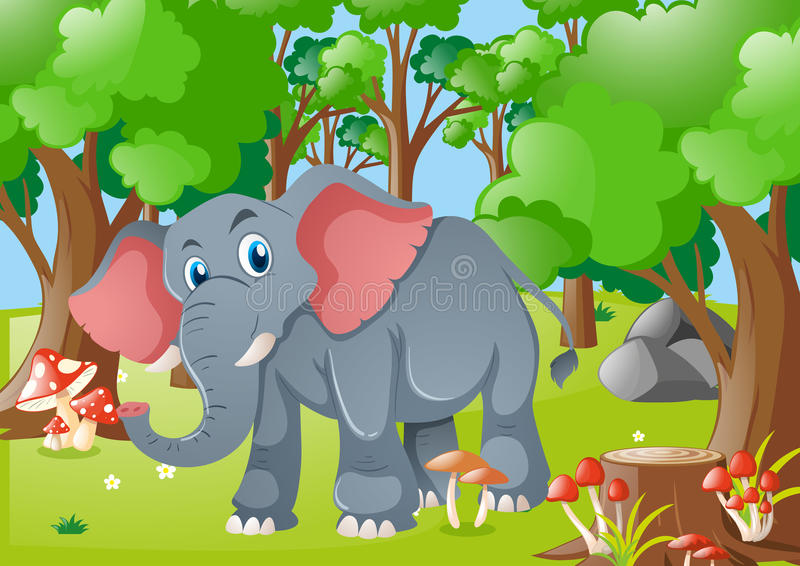 Olifant in het bos stock illustratie