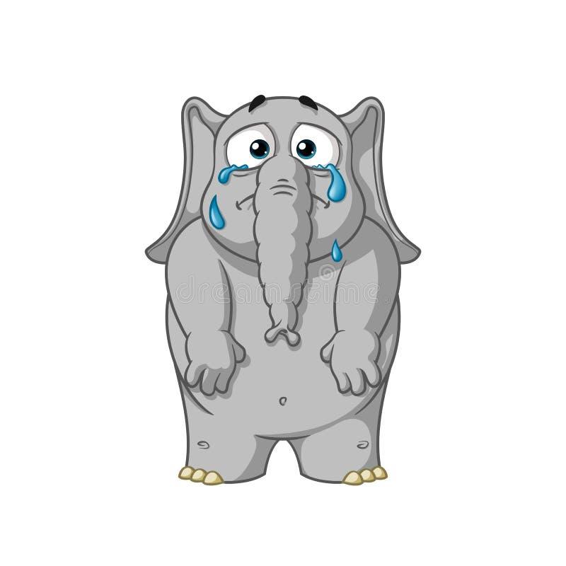 Olifant karakter Schreeuwen, die scheuren de werpen, vermindert zijn handen Grote inzameling van olifanten Vector, beeldverhaal royalty-vrije illustratie