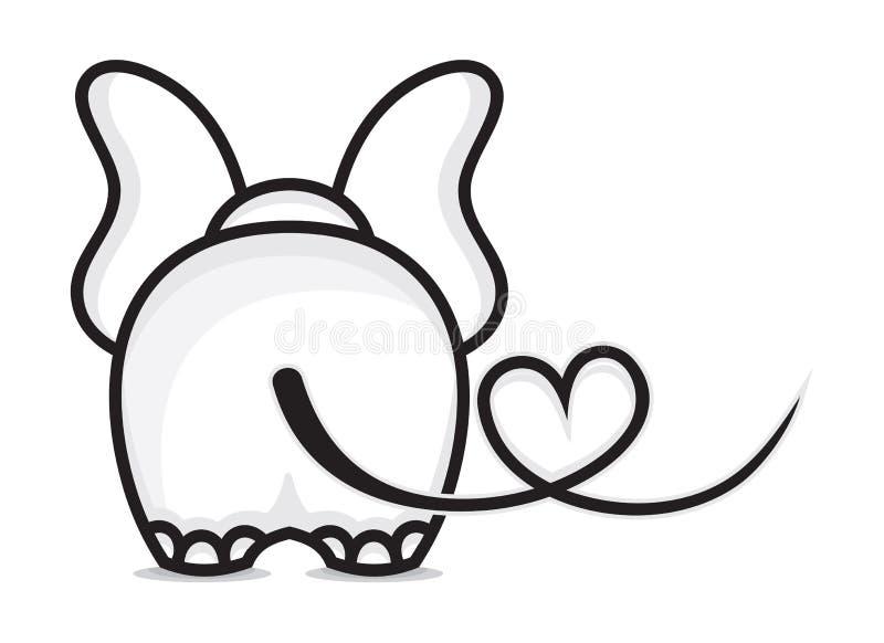 Olifant in liefde vector illustratie
