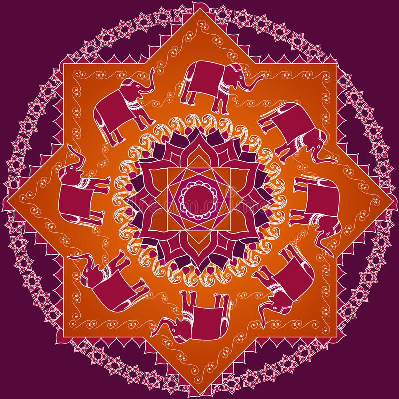 Olifant Mandala stock illustratie