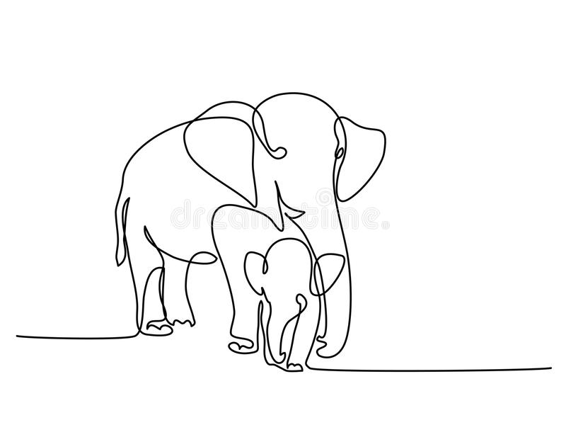 Olifant met baby stock illustratie