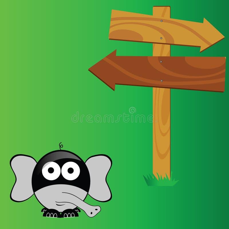 Olifant met de groene vector van de uithangbordkunst stock illustratie