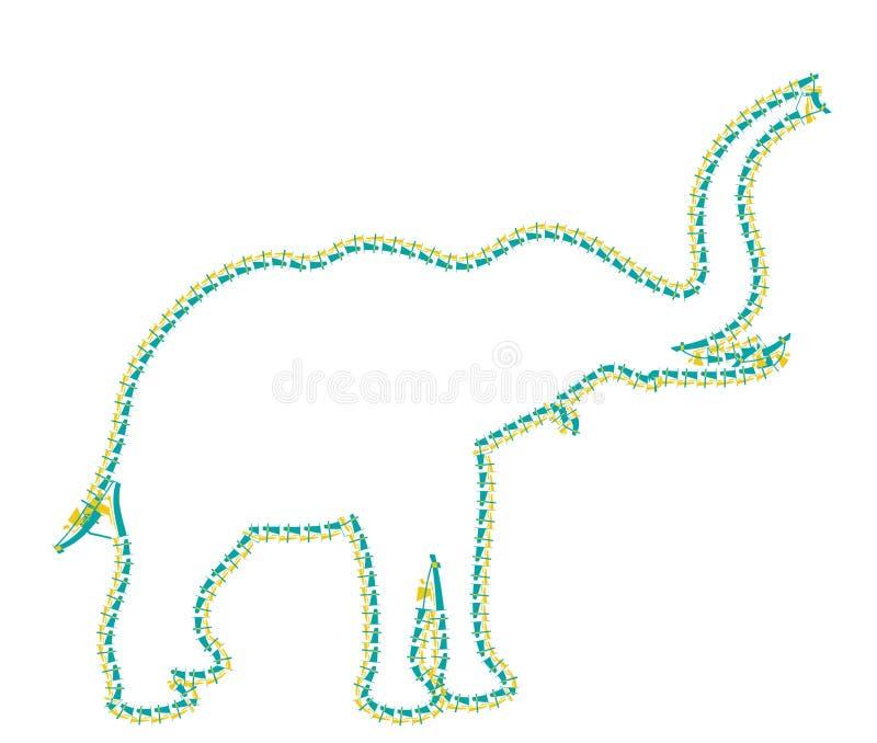 Olifant op de witte achtergrond die en vrienden lopen roepen royalty-vrije illustratie