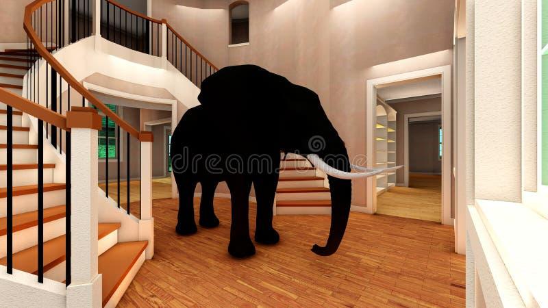 Olifant in woonkamer het 3d teruggeven stock fotografie