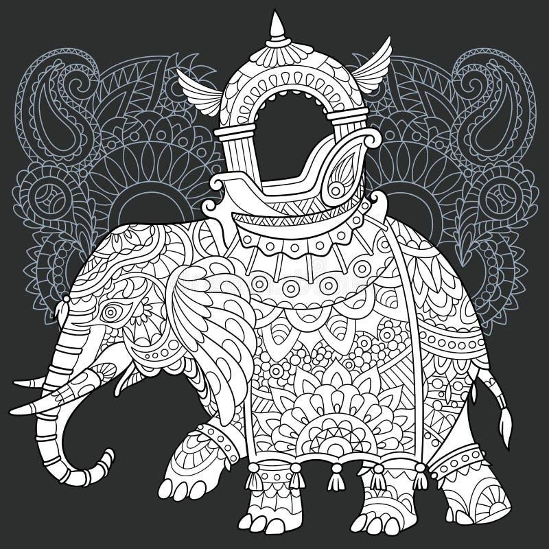 Olifant in zwart-witte stijl stock illustratie