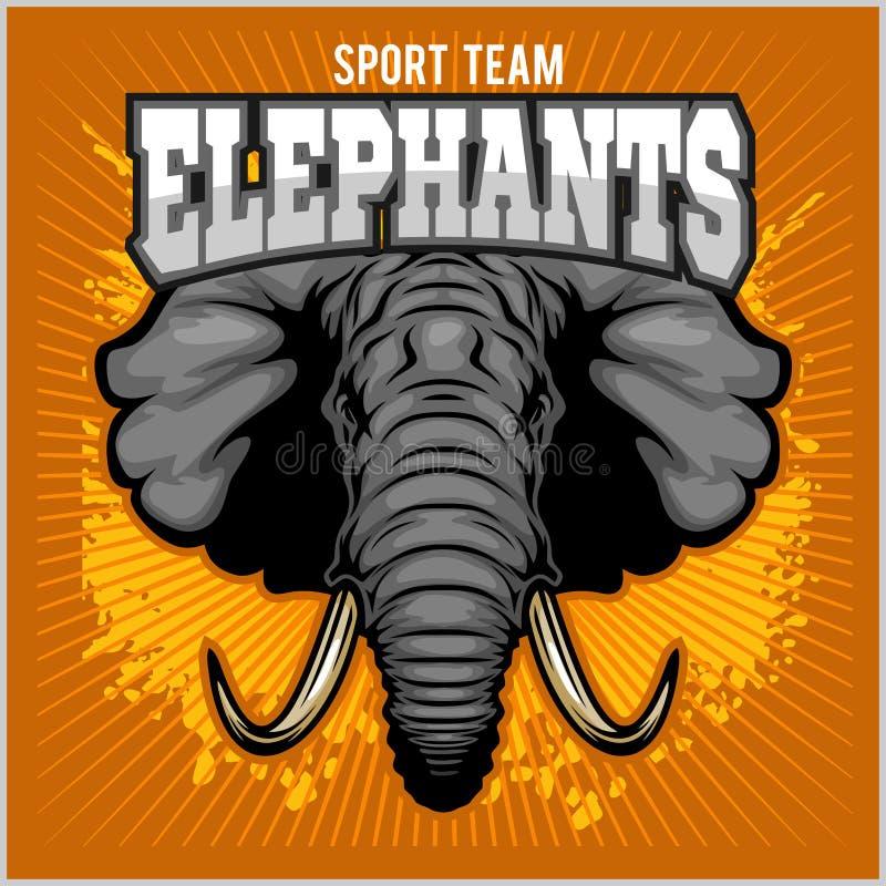 Olifanten - het teamsymbool van de sportclub Het kenteken van de safarijacht van gele, olifantsslagtand stock illustratie
