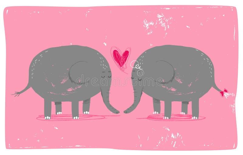 Olifanten in liefde royalty-vrije illustratie