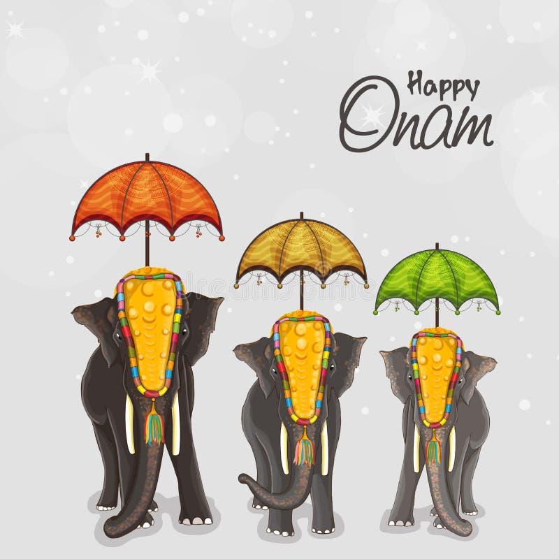 Olifanten voor Gelukkige Onam-festivalviering royalty-vrije illustratie