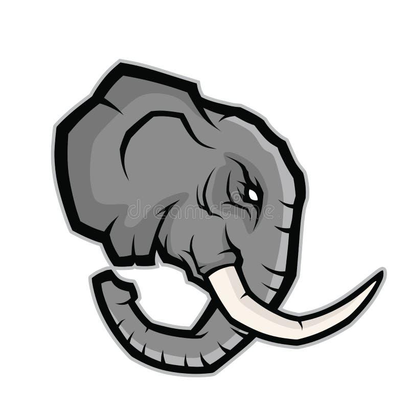 Olifants hoofdmascotte stock illustratie
