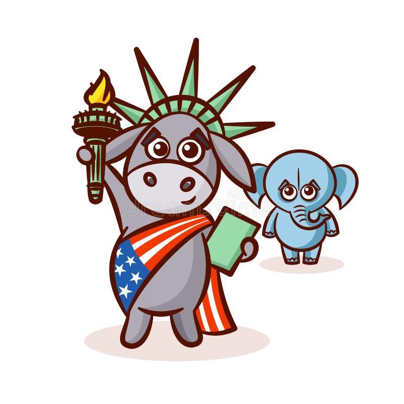 Olifantsezel Symbolen van Democraten en Republikeinen de V.S. Standbeeldvrijheid vector illustratie