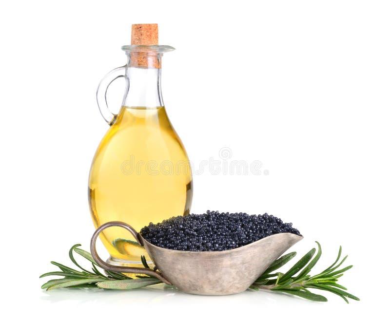 Olijfolie en kaviaar stock afbeeldingen