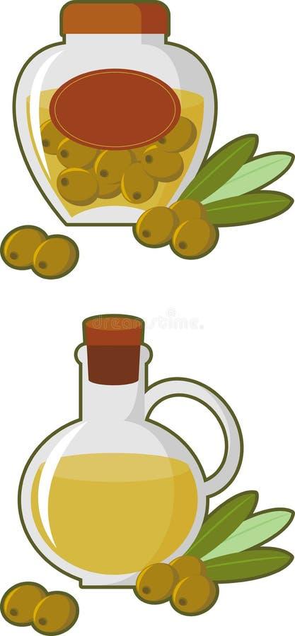 Olijfolie en olijven royalty-vrije illustratie