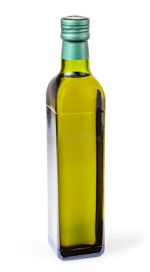 Olijfolie in glasfles op wit wordt geïsoleerd dat stock foto's