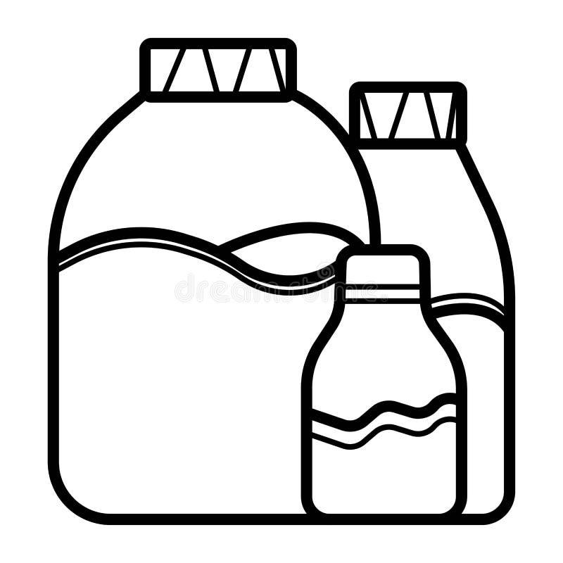 Olijfolie van bomen in fles en kruiken met stickers en emblemen Organisch vegetarisch product stock illustratie