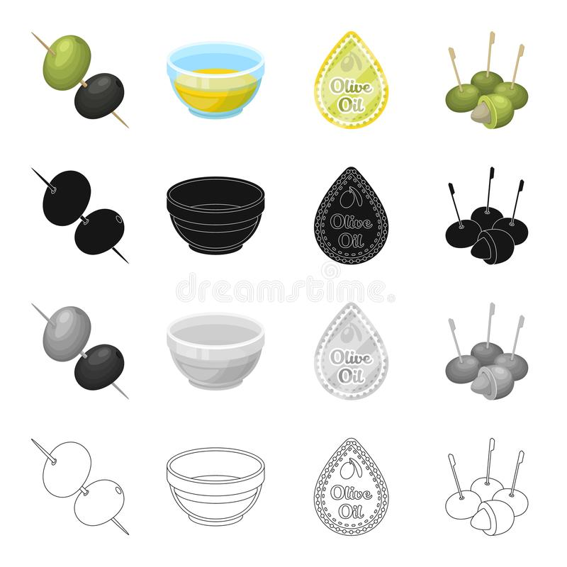 Olijven, bes, fruit en ander Webpictogram in beeldverhaalstijl Industrie, ingrediënten, boterpictogrammen in vastgestelde inzamel stock illustratie