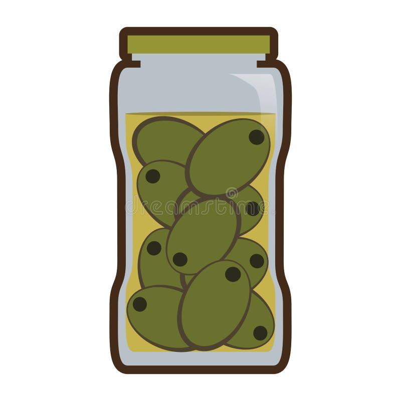 Olijven in het voedsel van het kruikdomein vector illustratie