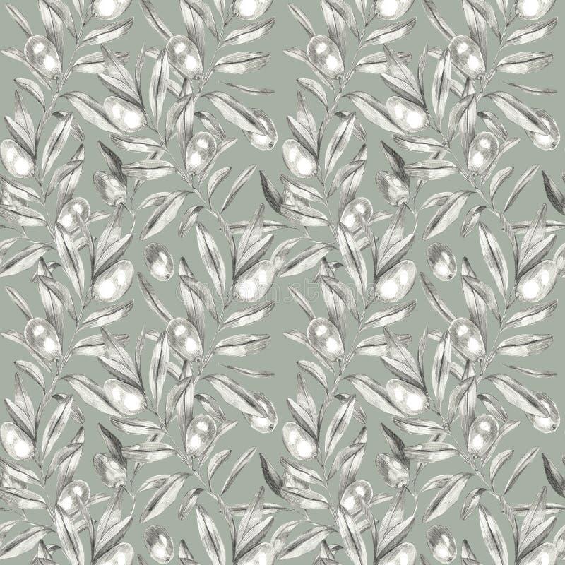 Olijven naadloos patroon vector illustratie